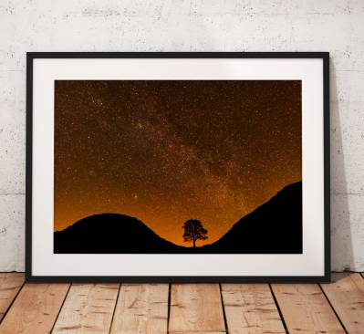 Northumberland Landscape Photography, Hadrians Wall , Sycamore Gap, night astro stars, England.  Photo. Mounted print. Wall Art.