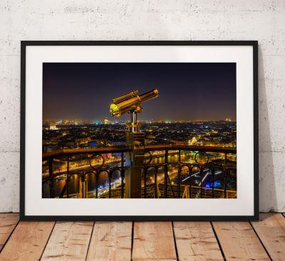 Paris Cityscape Photography, Eiffel tower, France, Night, City, Telescope. Landscape Photo. Long exposure. Wall Art.