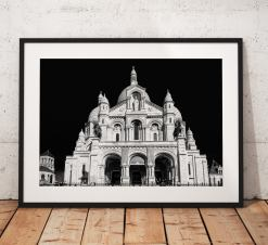 Paris Cityscape Photography, Sacre Coeur, Church Montmartre, France, Black and White. Landscape Photo. Mono, Wall Art, Home Decor