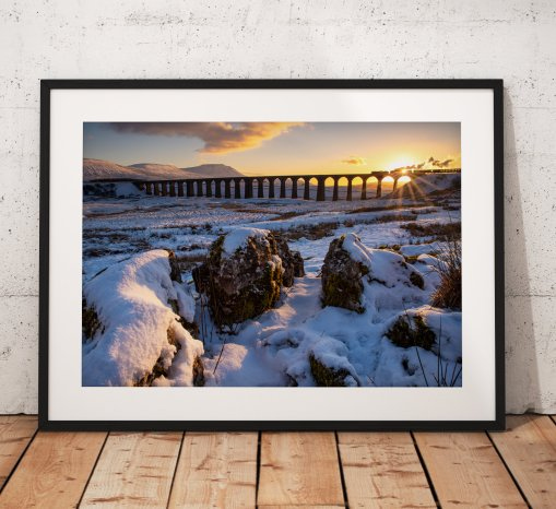 Photo of a Steam train passing over Ribblehead Viaduct in the Yorkshire Dales during a winter sunset. England, Fine Art, Home Decor