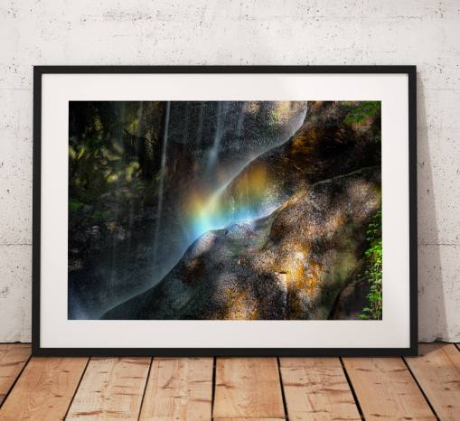 Rainbow Photography, Roughting Linn Waterfall ,Dappled light, Fairy's, Nature,  England.  Photo. Mounted print. Wall Art.