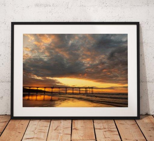 Saltburn Landscape Photography, Pier, Beach. Sunset, coast, Seaside, North York Moors, England. Landscape Photo. Mounted print. Wall Art.