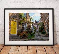 Street landscape Photograph of Robin Hoods Bay/ Print/ Sunrise/ North York Moors/ England/ Photo/ Yellow Door/ Mounted print/ Wall Art.