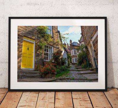Street landscape Photograph of Robin Hoods Bay/ Print/ Sunrise/ North York Moors/ England/ Photo/ Yellow Door/ Mounted print/ Wall Art.
