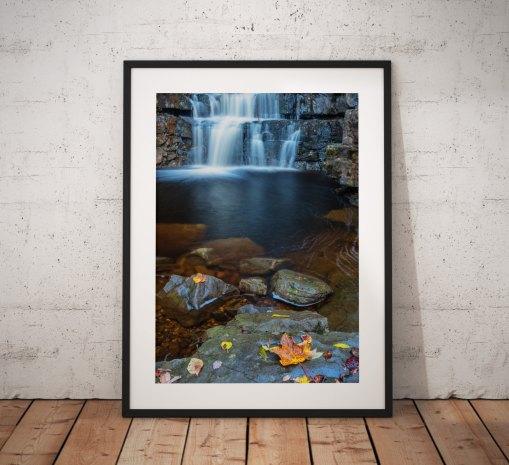 Waterfall landscape photography, Bowlees, Durham,Autumn,England. Landscape Photo. Mounted print. Wall Art.