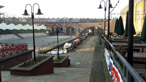 Castlefield Bowl with Castlefield Hotel Terrace in Foreground