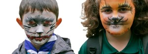 Beavers with face paint. First of the four sections of scouting.