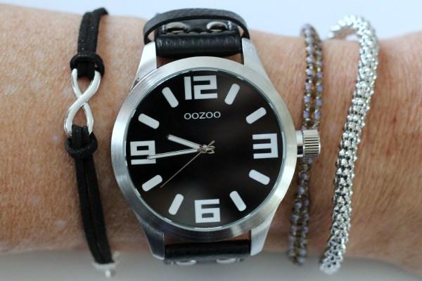 oozoo horloge zwart leren band