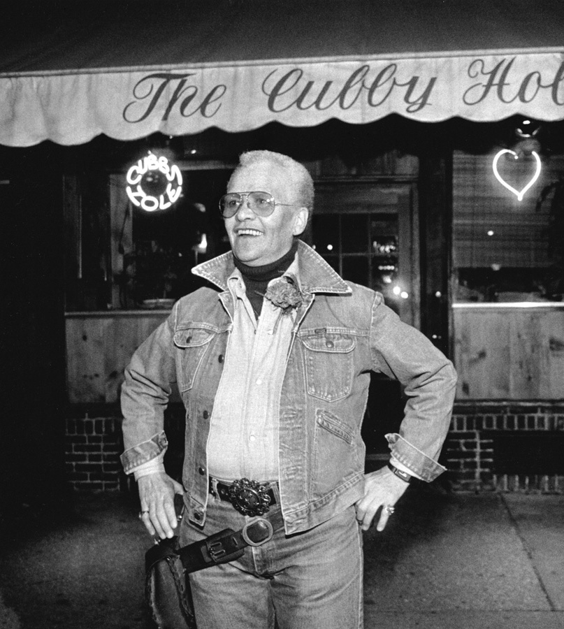 Storme DeLarverie in front of the Cubby Hole bar in NYC.