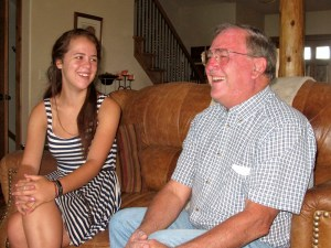 Yesterday and today. Poudre High School's first student council president, Richard Seaworth, right, shares a laugh with the current PHS student council president, Sophie Bibbey.
