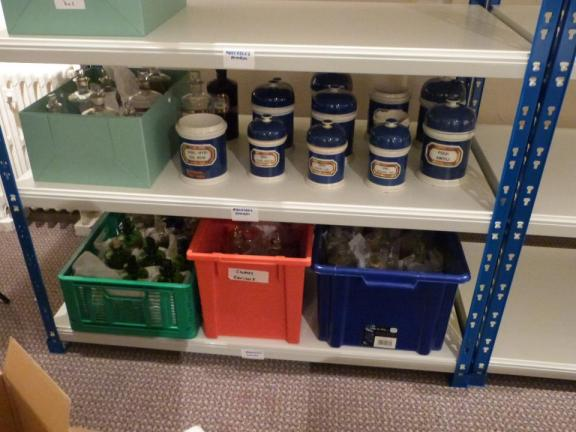 Objects from the Victorian pharmacy stored on the new shelving