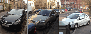 photo of 3 inconsiderately parked cars