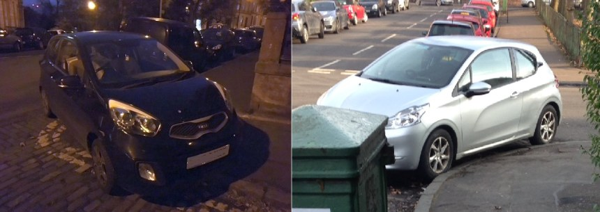 two cars parked unsafely on corners