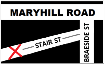 map showing where to meet on Stair Street