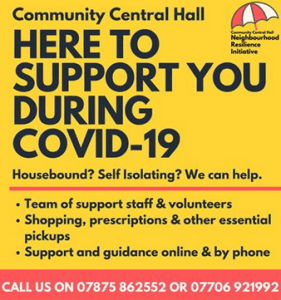 Community Central Hall: call 07875862552 for help during COVID-19