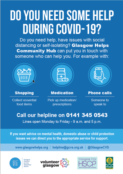 Glasgow Helps Hub information: helpline 0141 345 0543