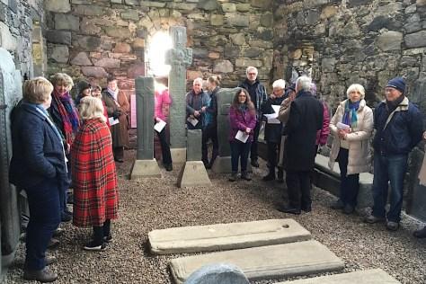 Worshippers inside Keills chapel
