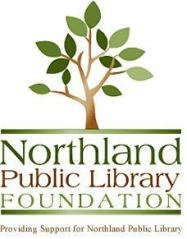 Northland Public Library Foundation logo with tree tagling below logo says Providing Support for Northland Public Library