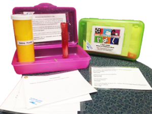 Take home science kit contains items to do science experiences packed in a plastic