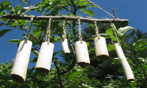 wooden wind chimes hangin on a tree branch