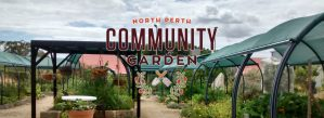 Photo of North Perth Community Garden with logo and shaded garden beds.