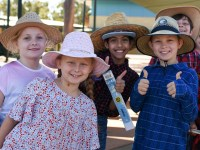 Northpine students dressed as farmers