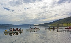 Students canoeing in challenge program