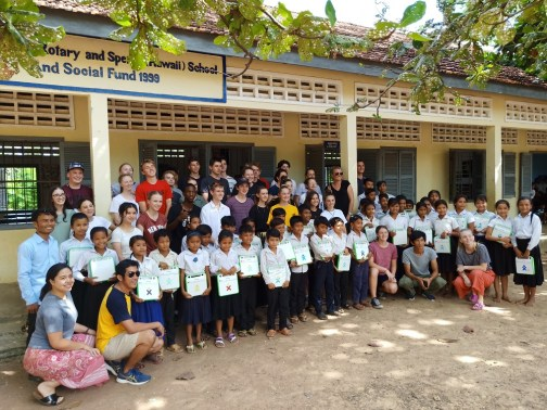 Students with school group in Cambodia
