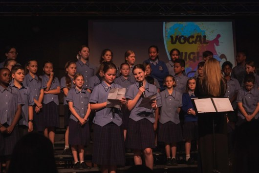Primary students performing