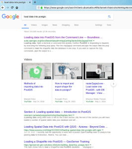 google results not using qgis database manager