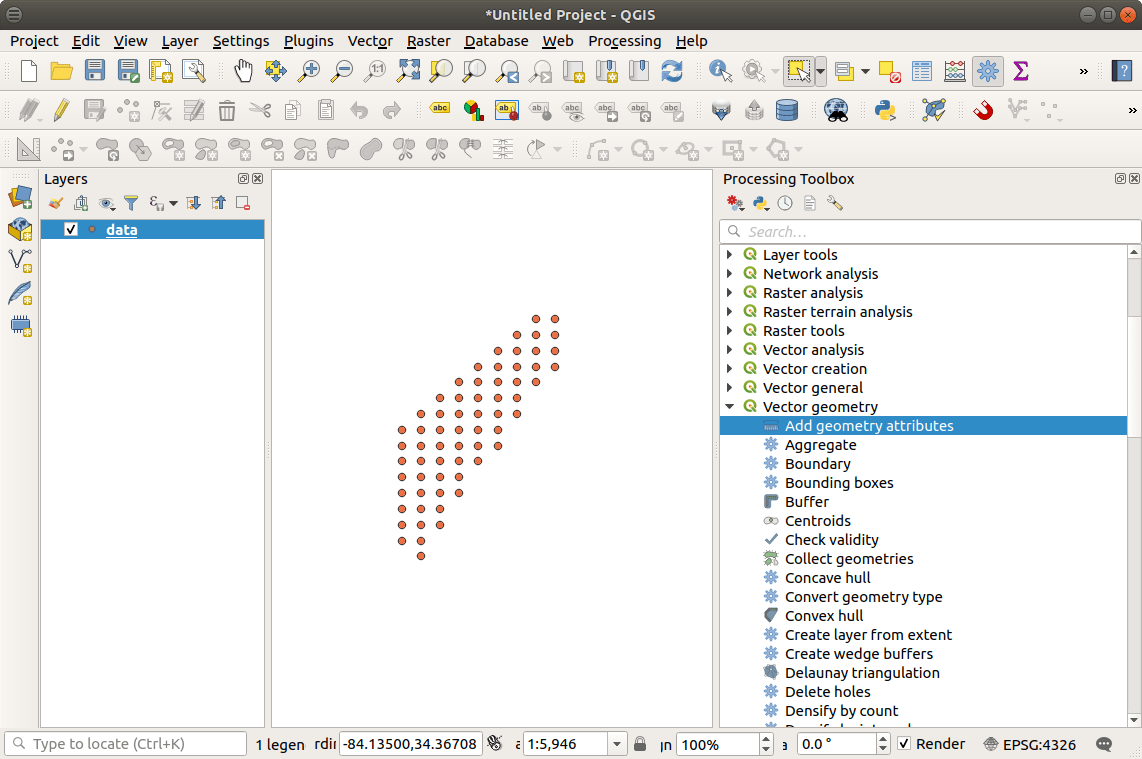 QGIS: Adding an X and Y Coordinate to Point Data • North