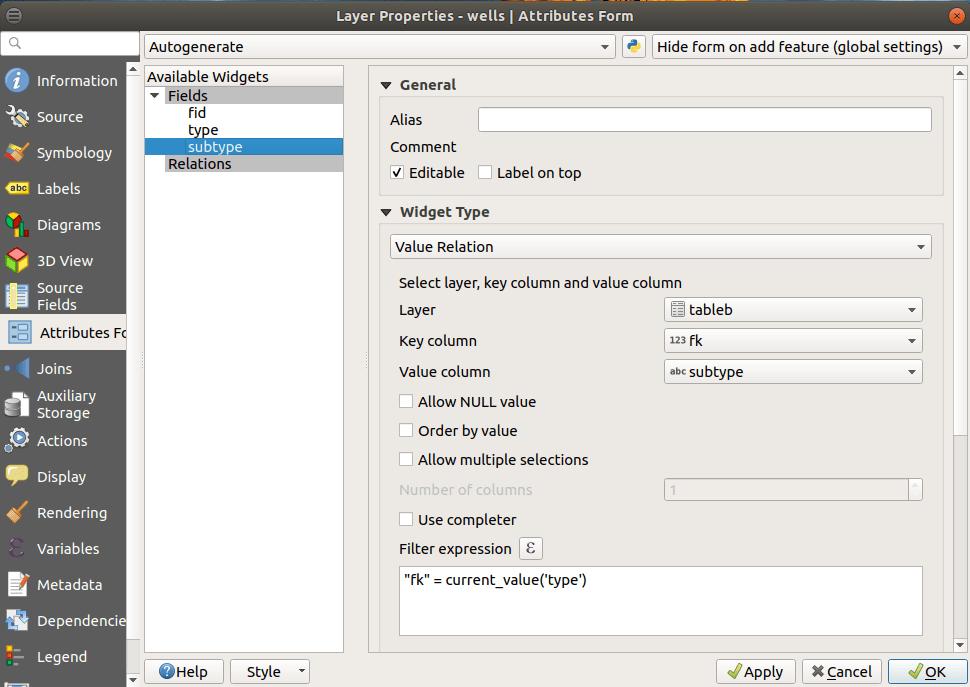 subtype widget