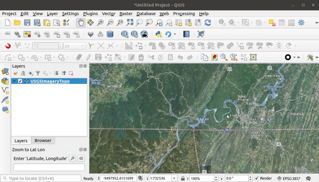 Adding a WMS Map Service from the National Map to QGIS