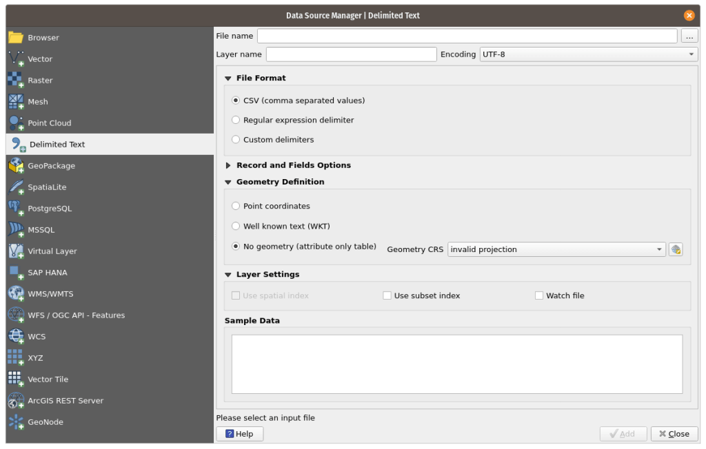 Delimited Text input on the Data Source Manager Tab in QGIS.