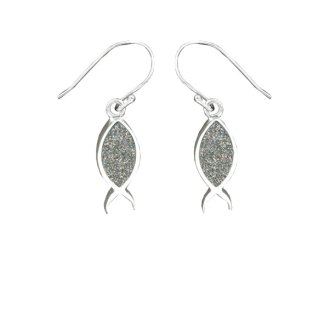 Fish Earrings - Silver Glitter
