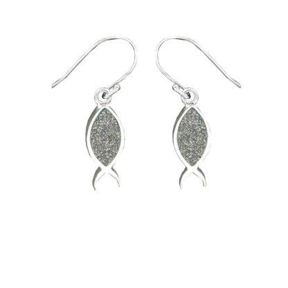 Fish Earrings - Silver Glitter