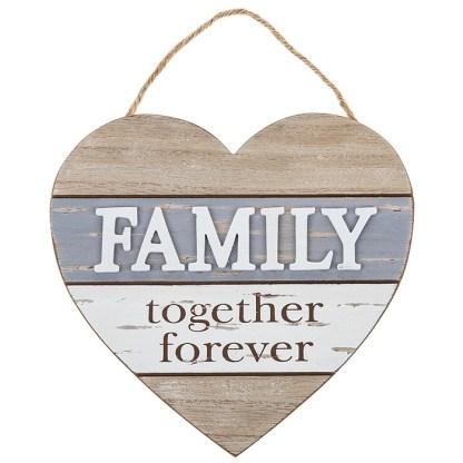 Blue Heart Shabby Plaque - Family
