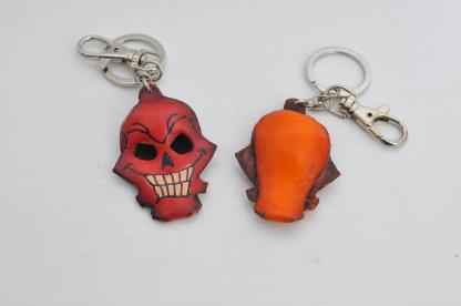 Leather Keyring - Red Skull