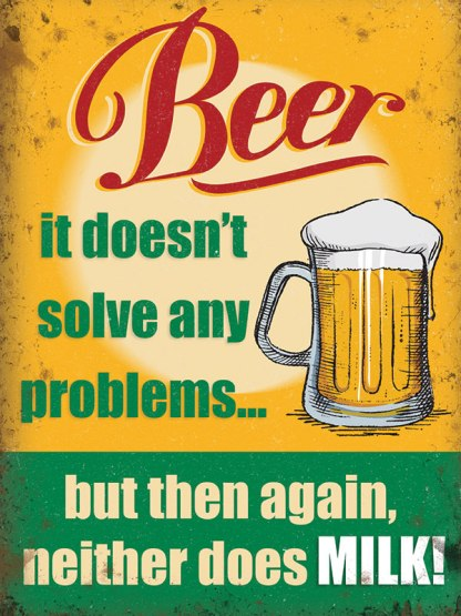 'Beer Problems' Metal Wall Sign