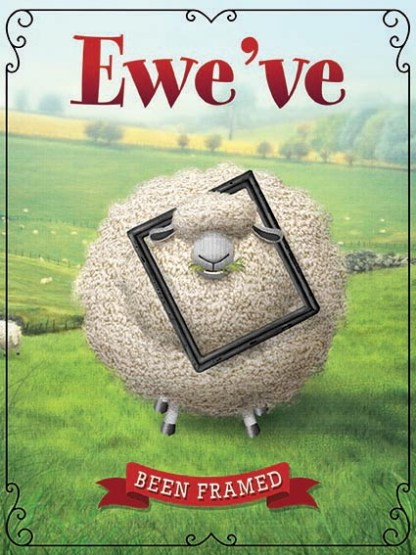 'Ewe've been Framed' Metal Wall Sign