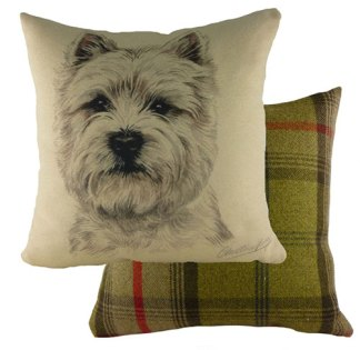 West Highland Terrier Tartan Backed Large Cushion