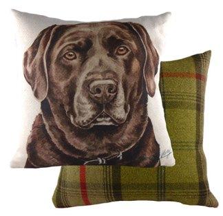 Chocolate Labrador Tartan backed Large Cushion
