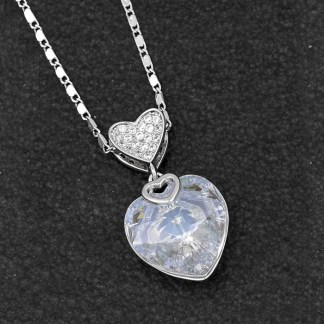 Swarovski Heart Necklace - Clear