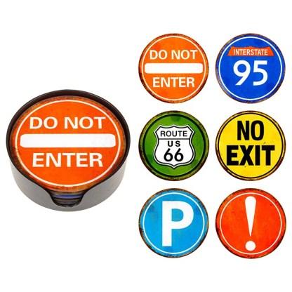 USA Road Sign Coasters Set of 6