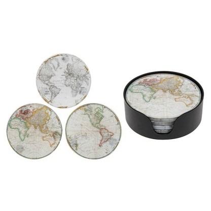World Map Coaster set of 6
