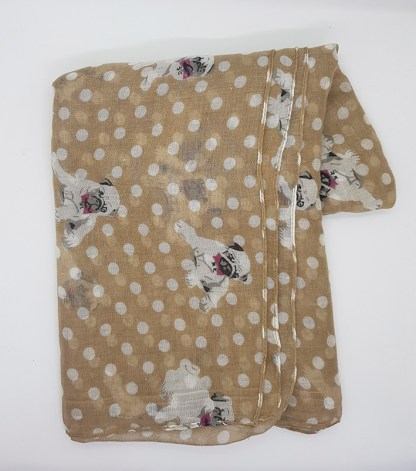 Pug - Brown Polka Dots Scarf