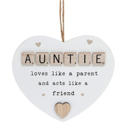 Scrabble Sentiment Heart Plaque - Auntie