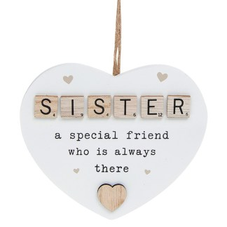 Scrabble Sentiment Heart Plaque - Sister