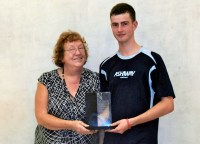 RISING STAR: 17-year-old Cai Younger picks up the coveted John Dale trophy from John's mother, Linda Dale.