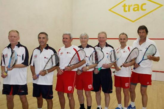 FLYING THE FLAG: The victorious England team with Northern's Derek Collins pictured second from left.